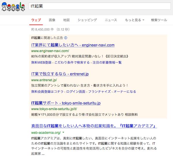 Googleで「IT起業」で検索した結果