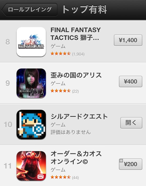 IPhone有料ゲームRPGランキング10位